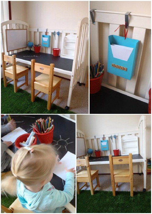 Crafting/Play Station - 20 Delightfully Creative and Functional Ways to Repurpose Old Cribs
