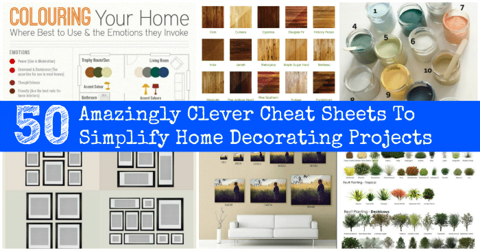 50 Amazingly Clever Cheat Sheets To Simplify Home Decorating Projects