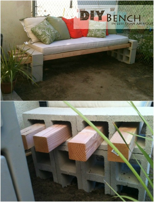 Easy Outdoor Bench - 17 Creative Ways to Use Concrete Blocks in Your Home