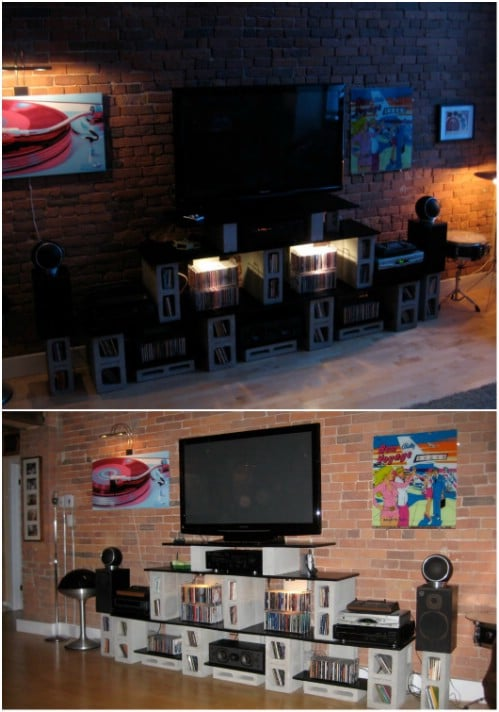 Entertainment Center - 17 Creative Ways to Use Concrete Blocks in Your Home