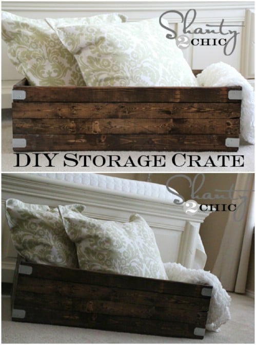 Quick and easy storage crate - 50 Decorative Rustic Storage Projects For a Beautifully Organized Home