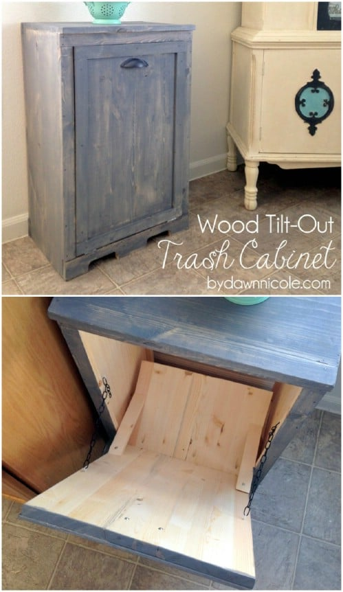 Tilt-out trash cabinet - 50 Decorative Rustic Storage Projects For a Beautifully Organized Home