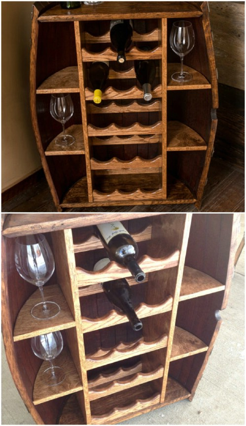 Wine barrel bottle cabinet - 50 Decorative Rustic Storage Projects For a Beautifully Organized Home
