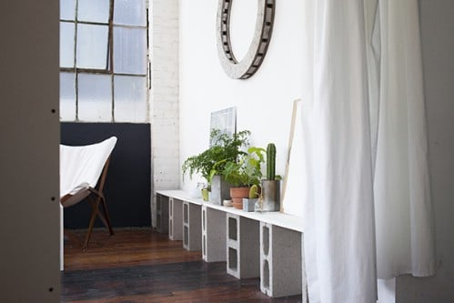 Low Shelf - 17 Creative Ways to Use Concrete Blocks in Your Home