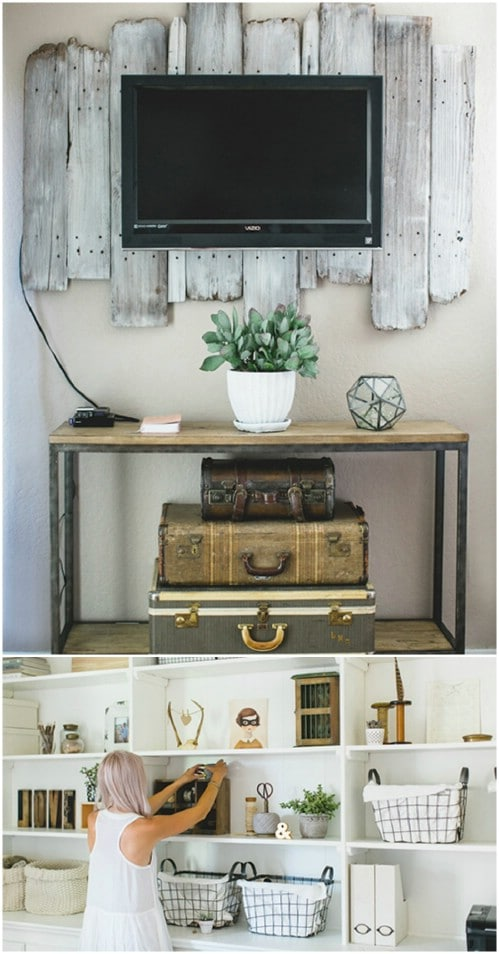 Custom shelving - 50 Decorative Rustic Storage Projects For a Beautifully Organized Home
