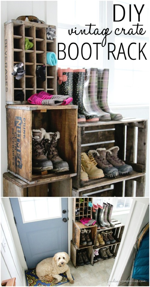 Vintage crate boot rack - 50 Decorative Rustic Storage Projects For a Beautifully Organized Home