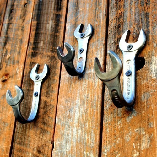 Wrench wall hooks - 50 Decorative Rustic Storage Projects For a Beautifully Organized Home