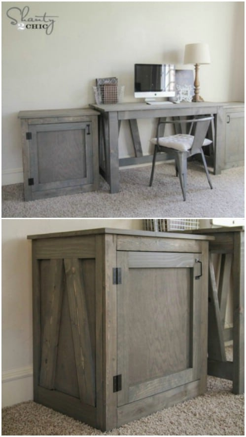 DIY desk or nightstand - 50 Decorative Rustic Storage Projects For a Beautifully Organized Home