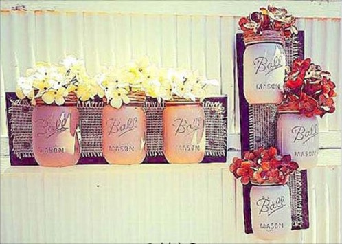 Mason jar wall vases - 50 Decorative Rustic Storage Projects For a Beautifully Organized Home