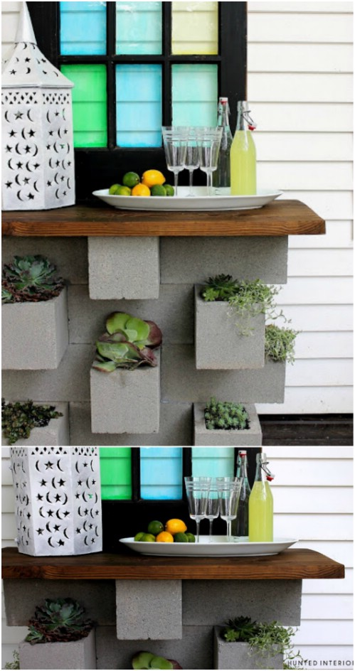 Planter Bar - 17 Creative Ways to Use Concrete Blocks in Your Home