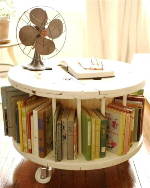 Cable drum furniture - 50 Decorative Rustic Storage Projects For a Beautifully Organized Home