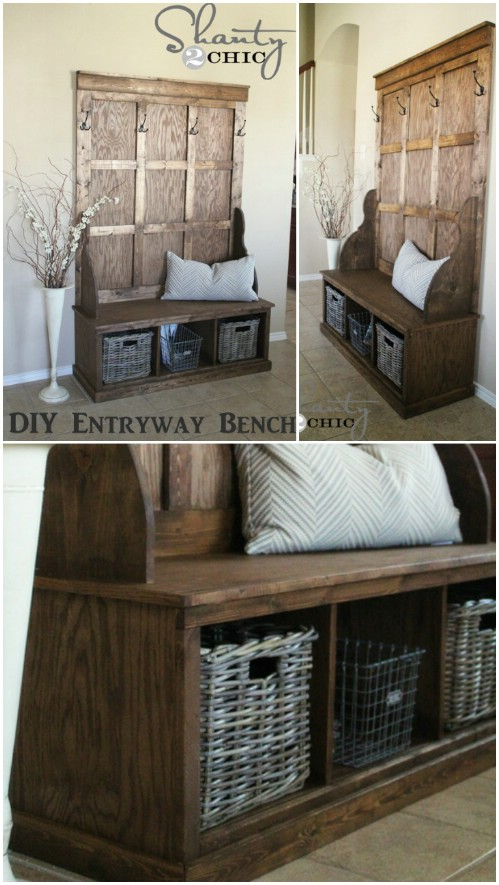 Rustic hall tree - 50 Decorative Rustic Storage Projects For a Beautifully Organized Home