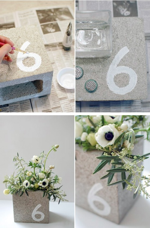Centerpiece/Table Number - 17 Creative Ways to Use Concrete Blocks in Your Home