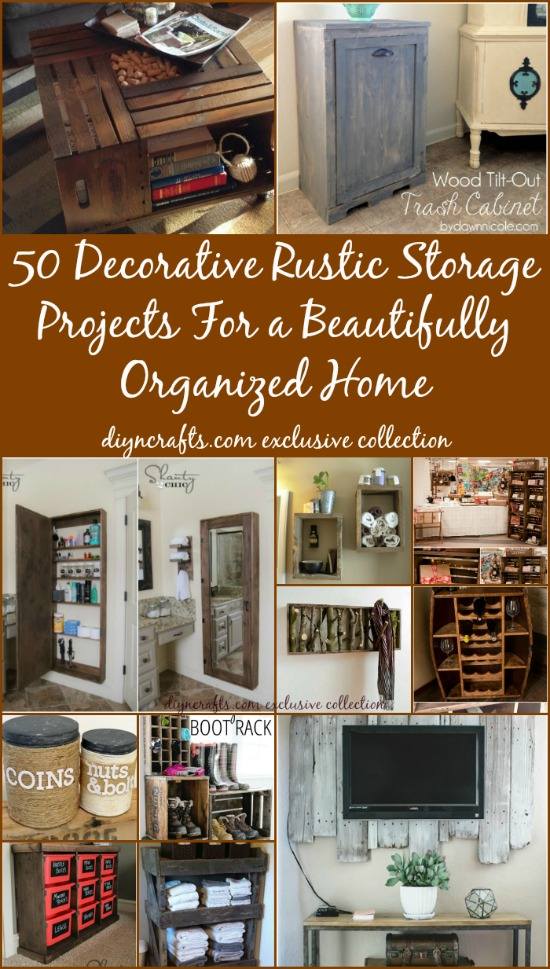 50 Decorative Rustic Storage Projects For a Beautifully Organized Home - Brilliant projects!!