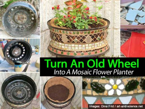 Transform an old wheel into a gorgeous mosaic planter.