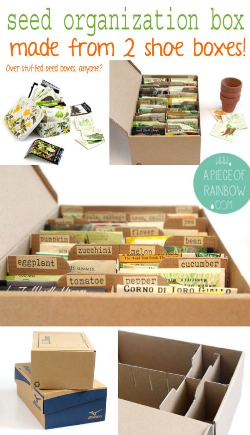 Up-cycle shoe boxes into seed boxes.