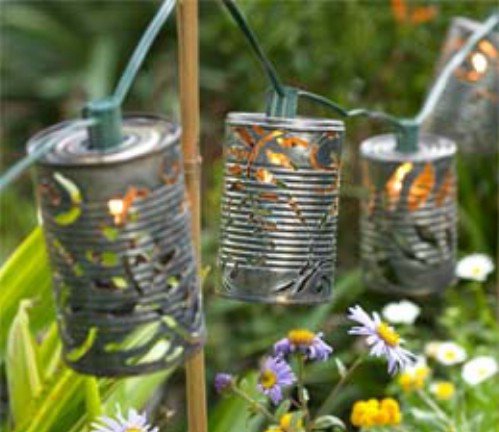Recycled tin can lights.