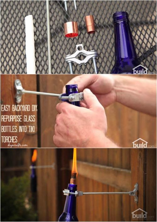 Easy Backyard Diy Repurpose Glass Bottles Into Tiki Torches Diy