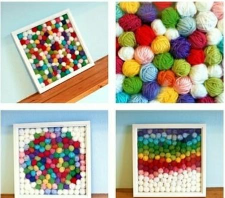 Yarn ball collage art