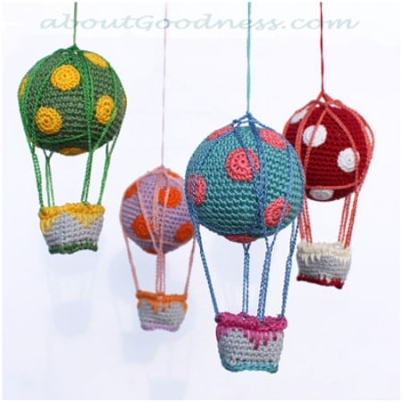 Knitted hot air balloons