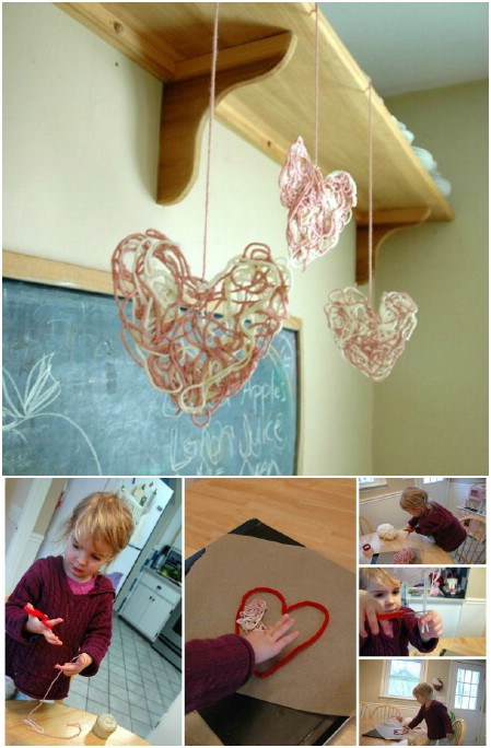 Make whimsical sculptures with yarn and glue