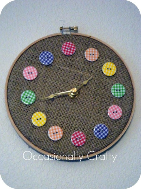 Embroidery Button Clock