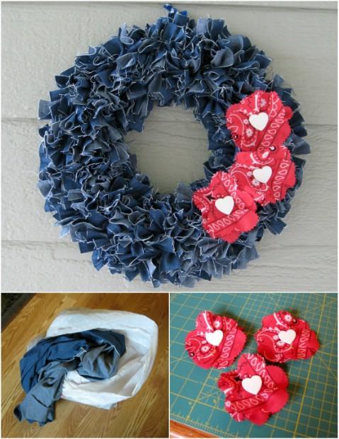 Make a denim wreath!