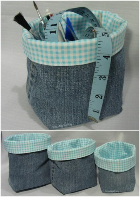 Make a denim fabric basket.
