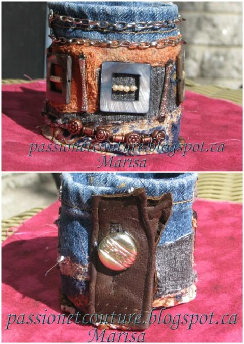 Make a textile denim cuff.