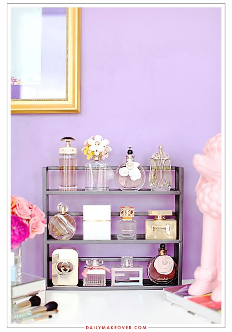 Use a spice rack to display your perfume bottles.