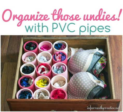 Organize underwear in PVC pipes.