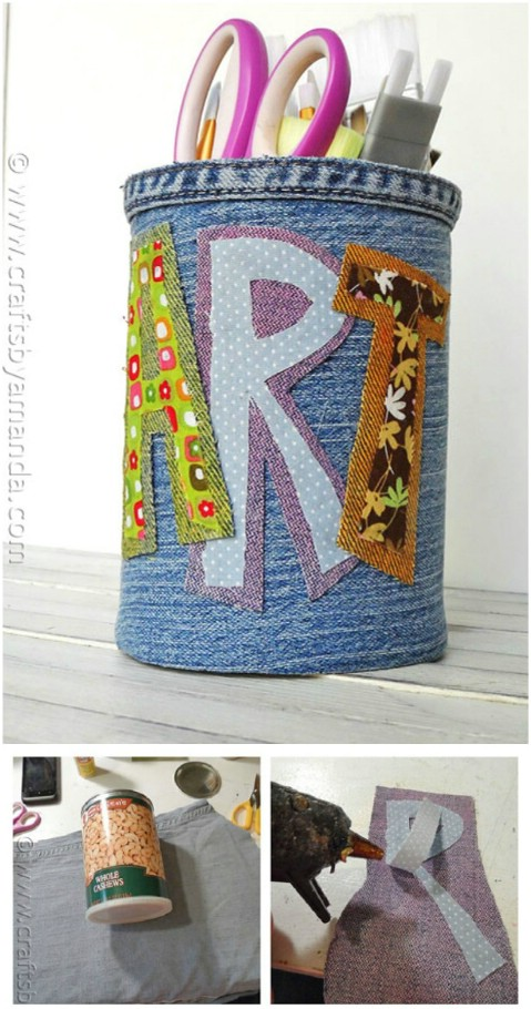 Craft a denim-covered pencil can.