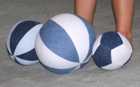 These denim balls are perfect for play time.