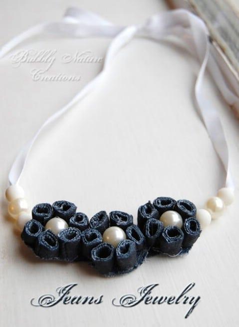 Design a surprisingly elegant denim necklace.