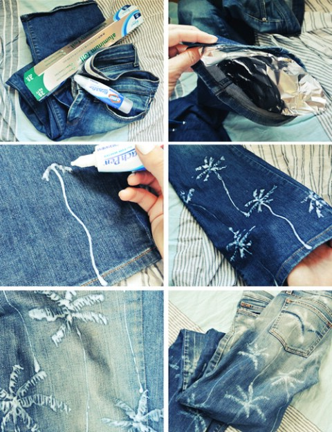 Draw on your jeans with a bleach pen.