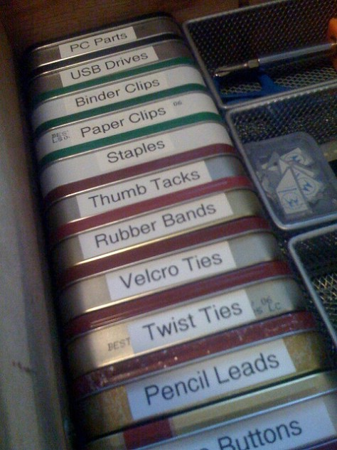 Organize your supplies into Altoids tins.