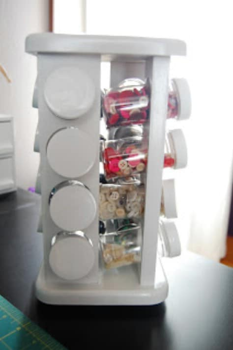 Use a spice rack holder for craft supplies.