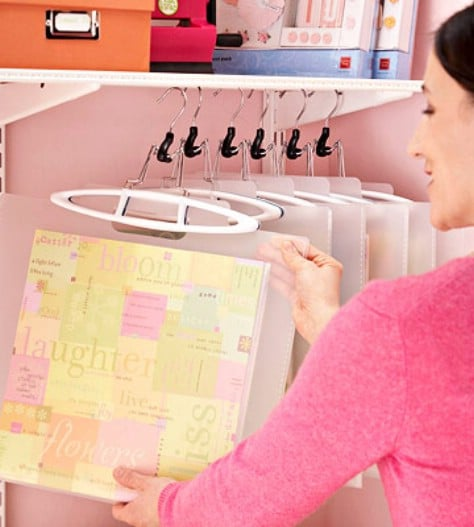 Hang your scrapbooking supplies in a closet.