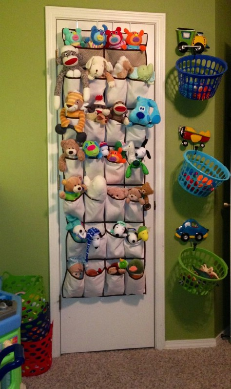 Store plush toys using a shoe organizer.