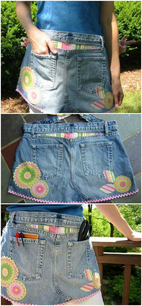 Make a craft apron out of your old jeans.