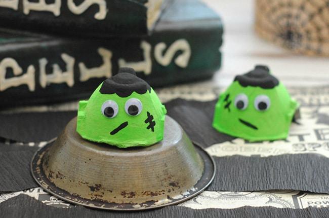 Egg carton Frankenstein on metal plate