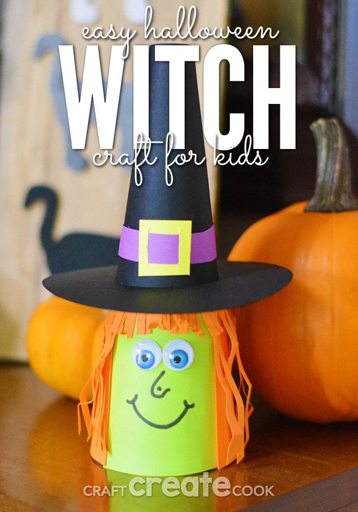 Paper witch by pumpkin