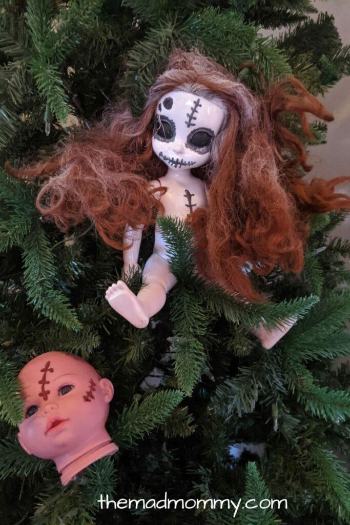 Creepy dolls in a tree