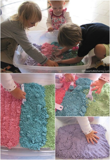 Give your kids colorful cloud dough.