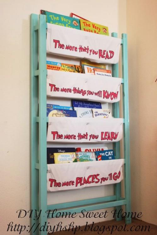 Repurposed Crib Bookshelf