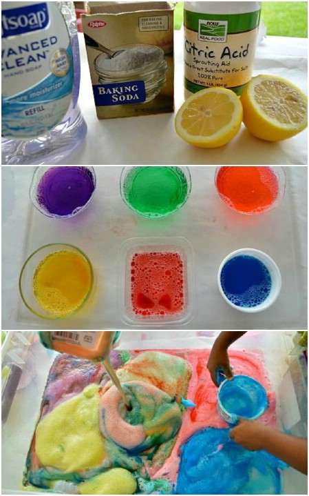 Make fizzy lemon suds eruptions.