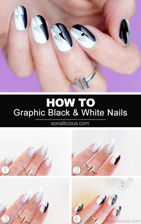 Graphic black and white nail art