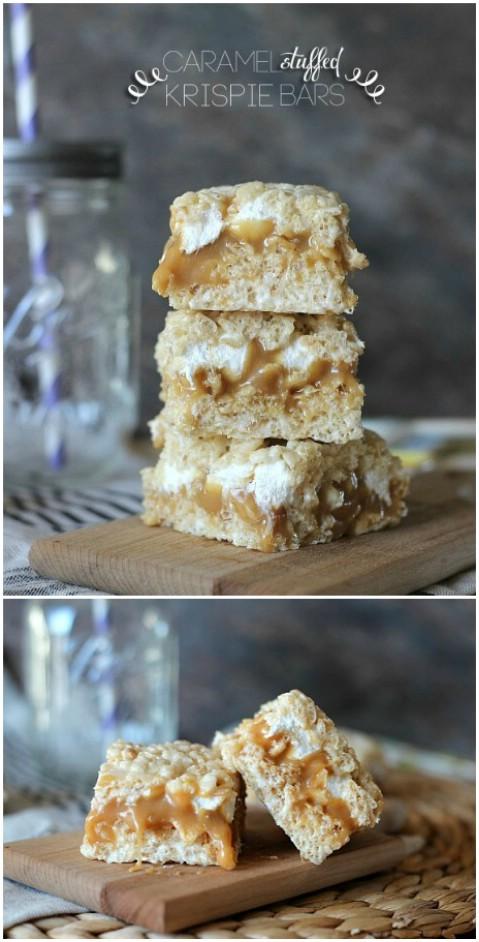Caramel Stuffed Rice Krispie Bars