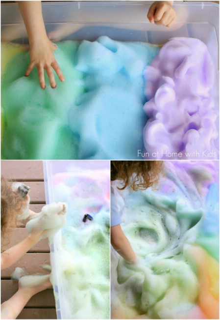 Make rainbow soap foam.