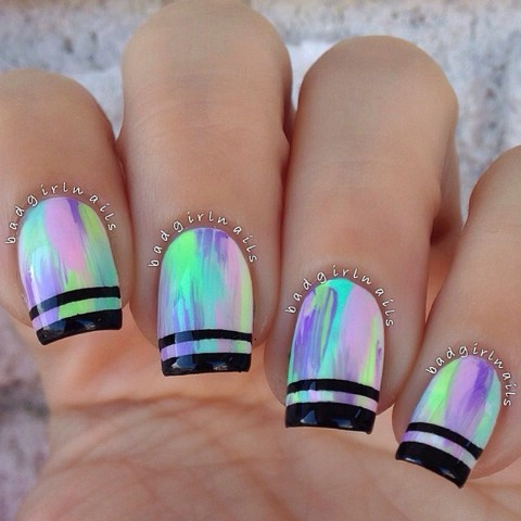 Pastel nails with black tips